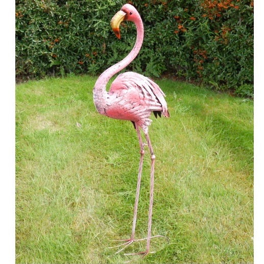 Metal Flamingo Garden Ornament - Large