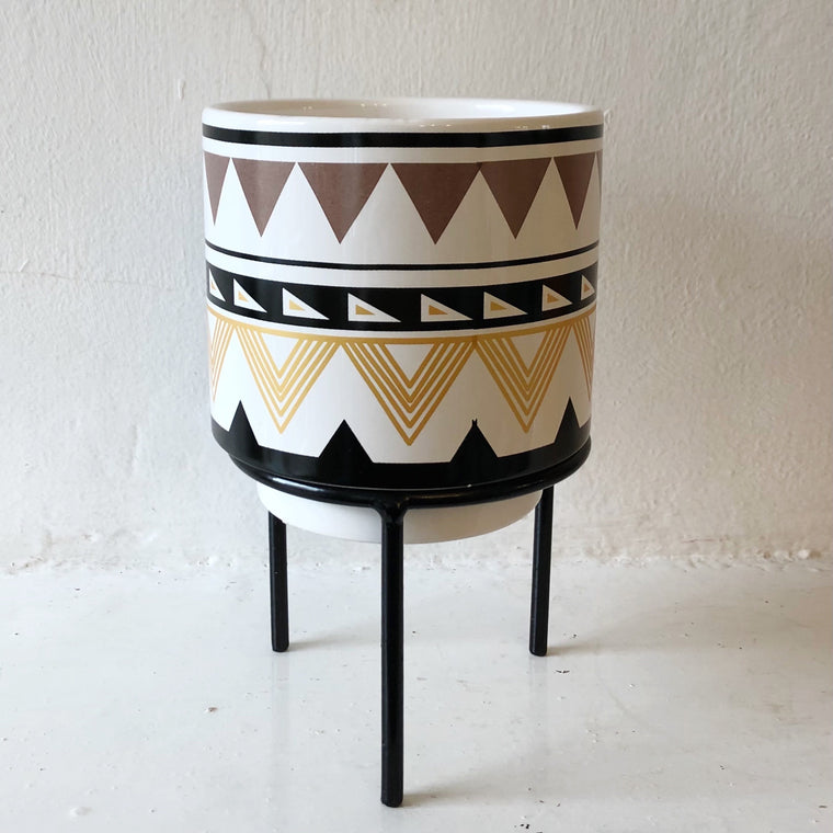 Mini Aztec Print Planter and Stand Plant Pot