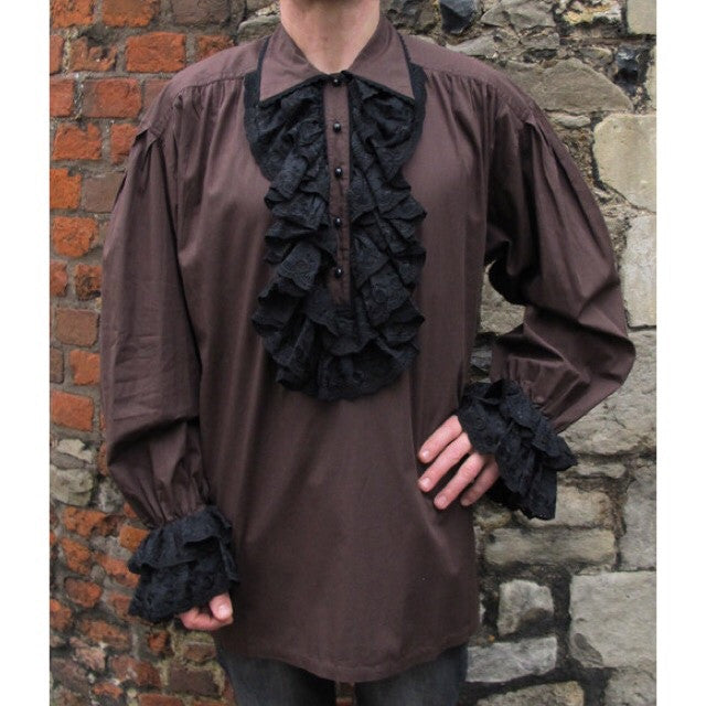 Mens Sacrifice Lace Ruffle Frill Shirt - Brown