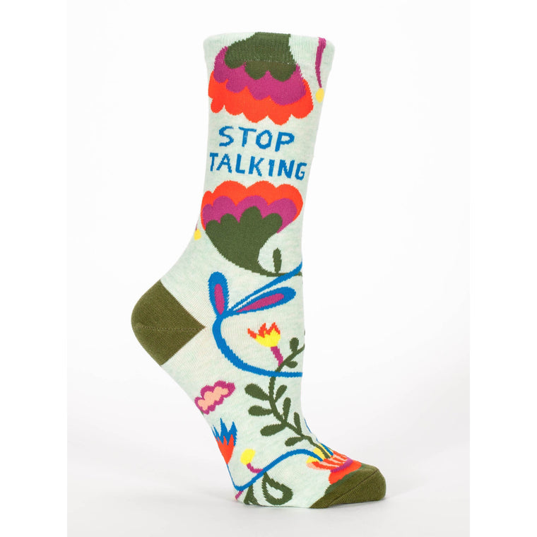 Blue Q Crew Socks - Stop Talking