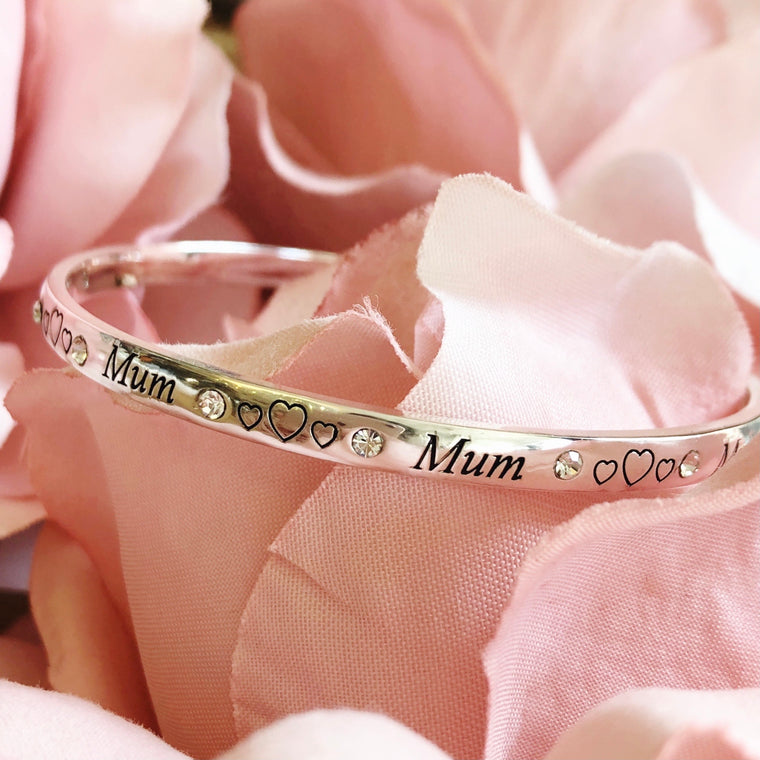 Mum Bangle Bracelet - Silver Plated