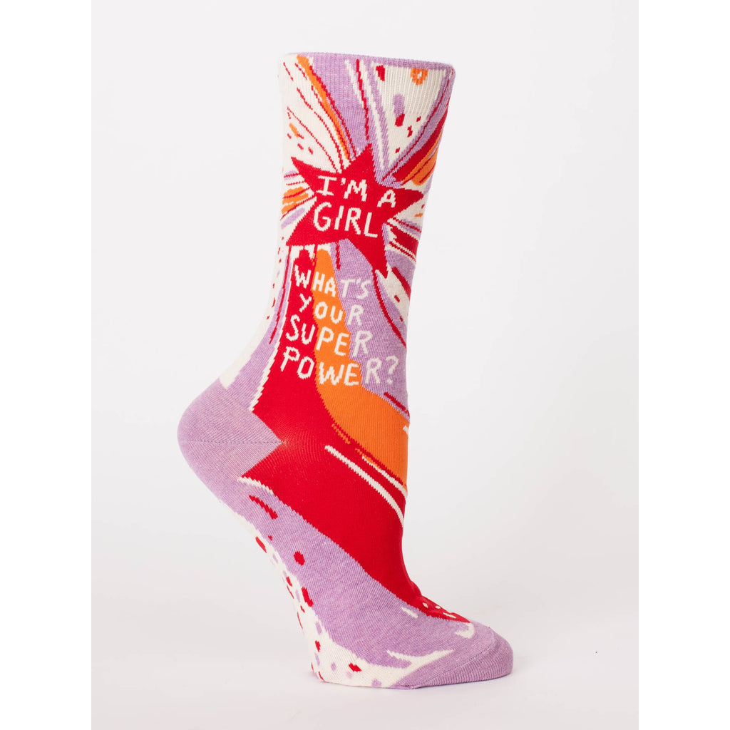 I'm A Girl. What's Your Superpower? - Crew Socks