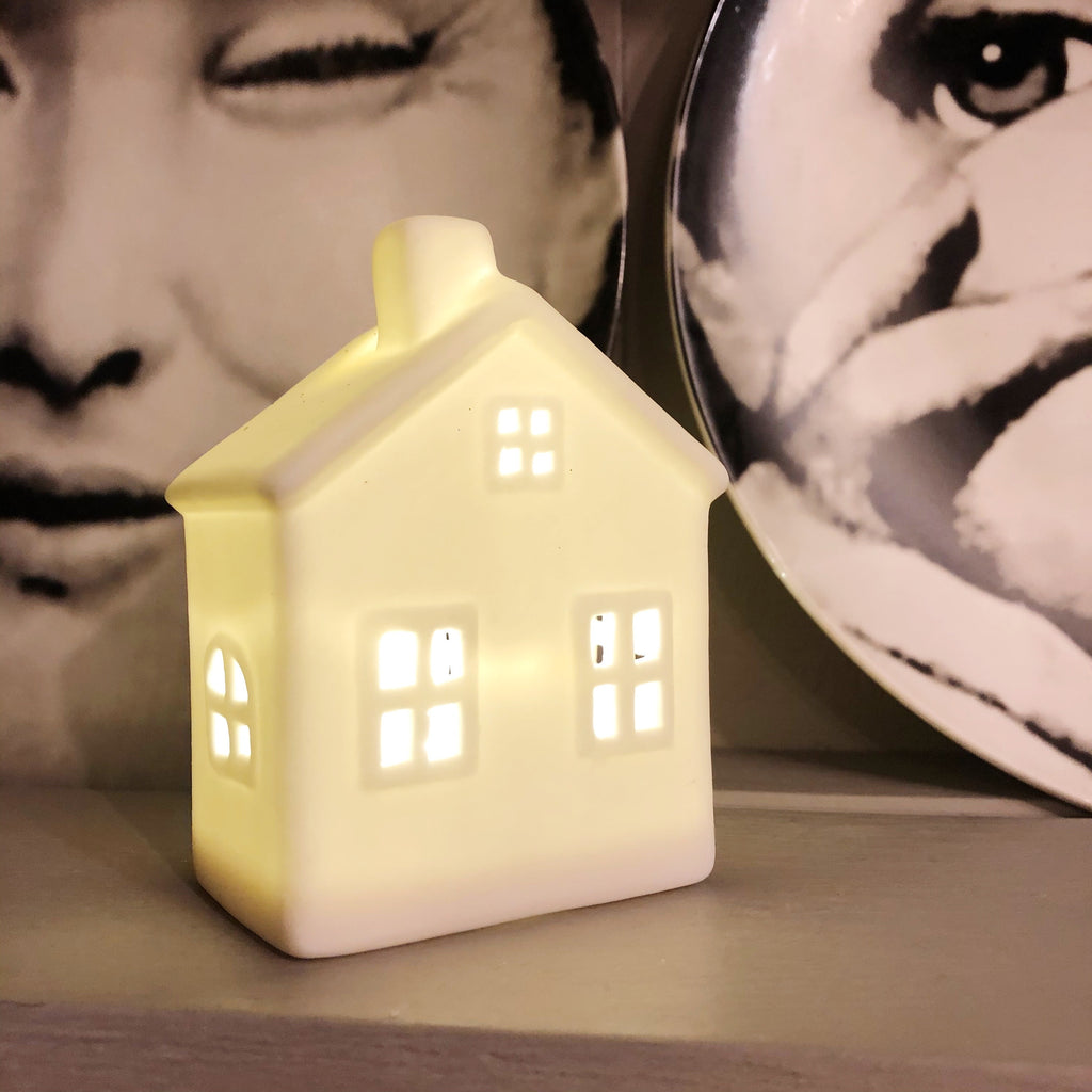 White Ceramic Mini Light Up House