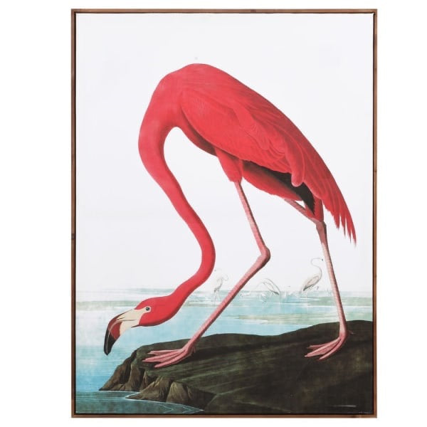 Large Pink Flamingo Canvas Picture Art Print