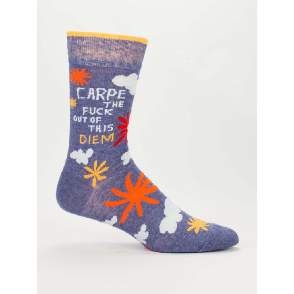 Blue Q Mens Crew Socks - Carpe The Fuck Out Of This Diem