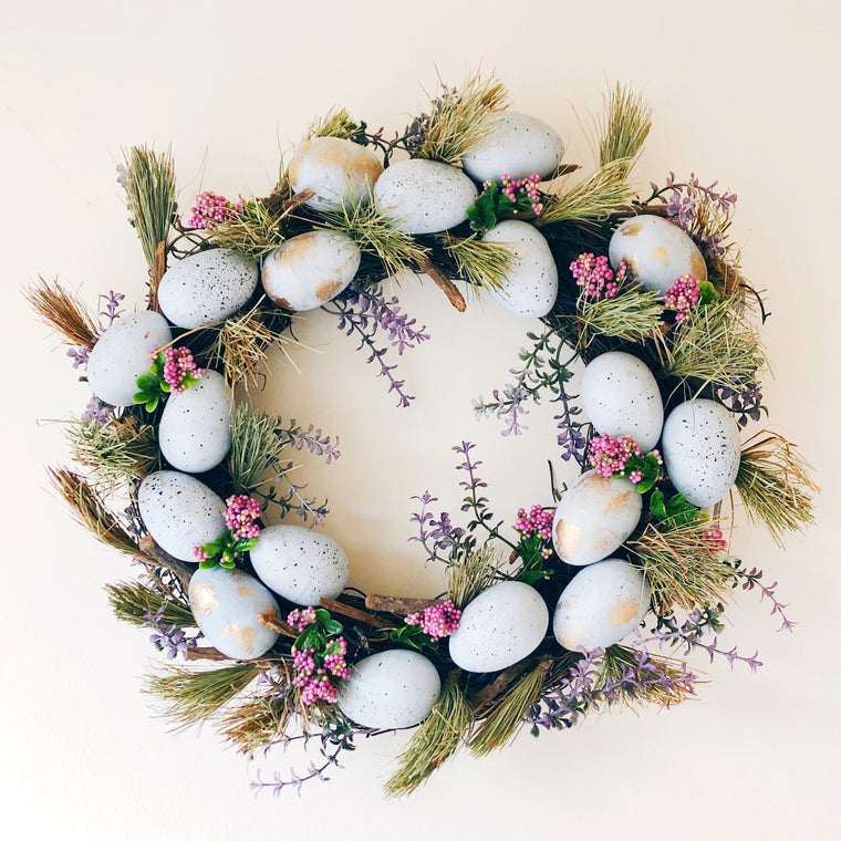 Flowers & Blue Speckled Eggs Easter Wreath