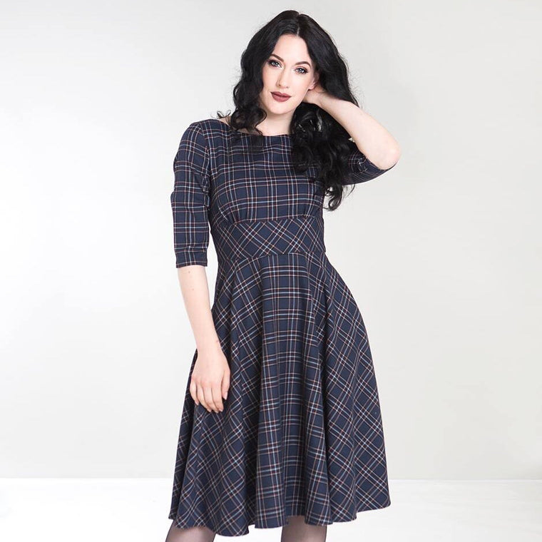 Hell Bunny Peebles 50's Dress - Navy