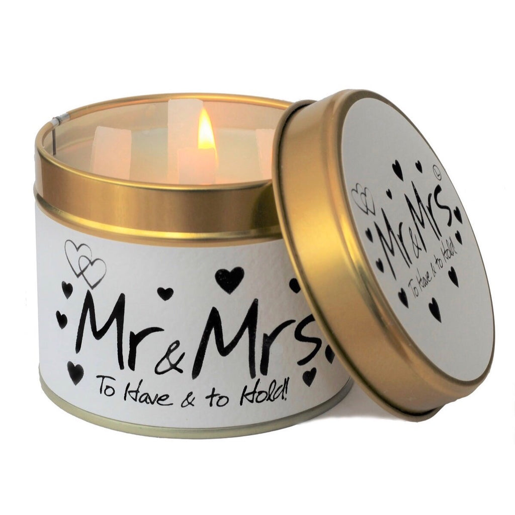 Lily-Flame Scented Tin Candle - Mr & Mrs