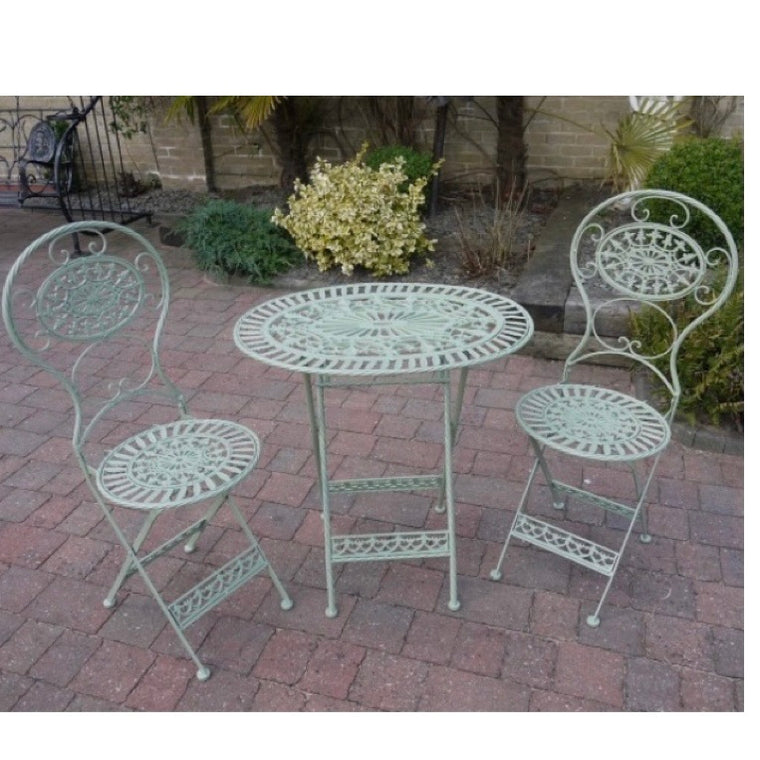 Garden Table & Chair Set - Pale Green Oval