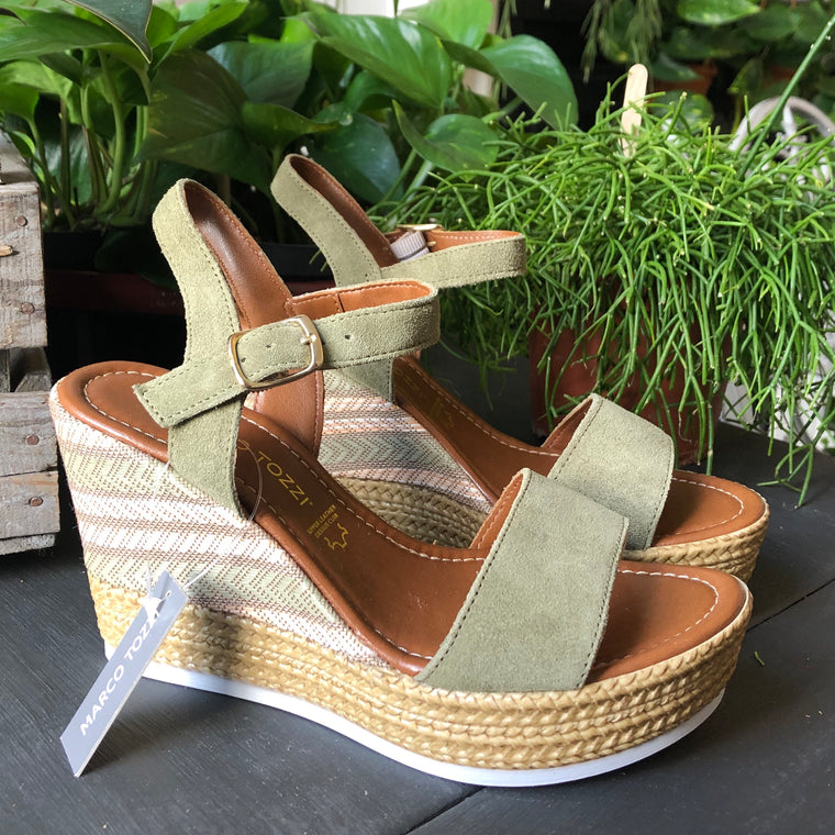 Marco Tozzi Sage Green Wedge Sandals