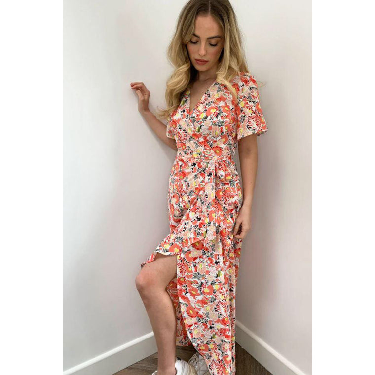 Farren Wrap Midi Dress - Pink Floral