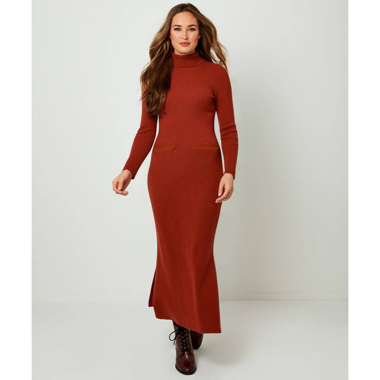 Joe Browns Fabulous Ribbed Knitted Red Rust Dress