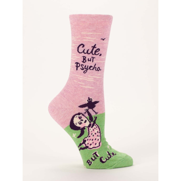 Blue Q Crew Socks - Cute. But Psycho, But Cute