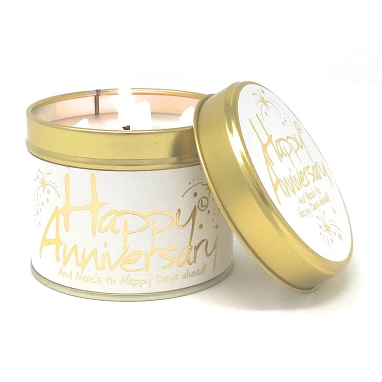 Lily-Flame Scented Tin Candle - Happy Anniversary
