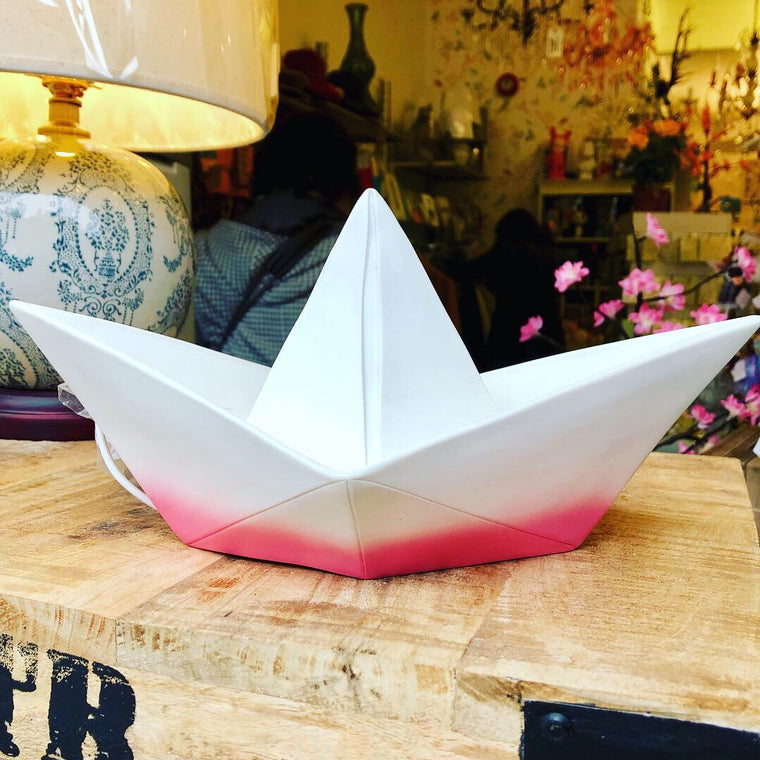Goodnight Light Paper Boat Lamp - Red