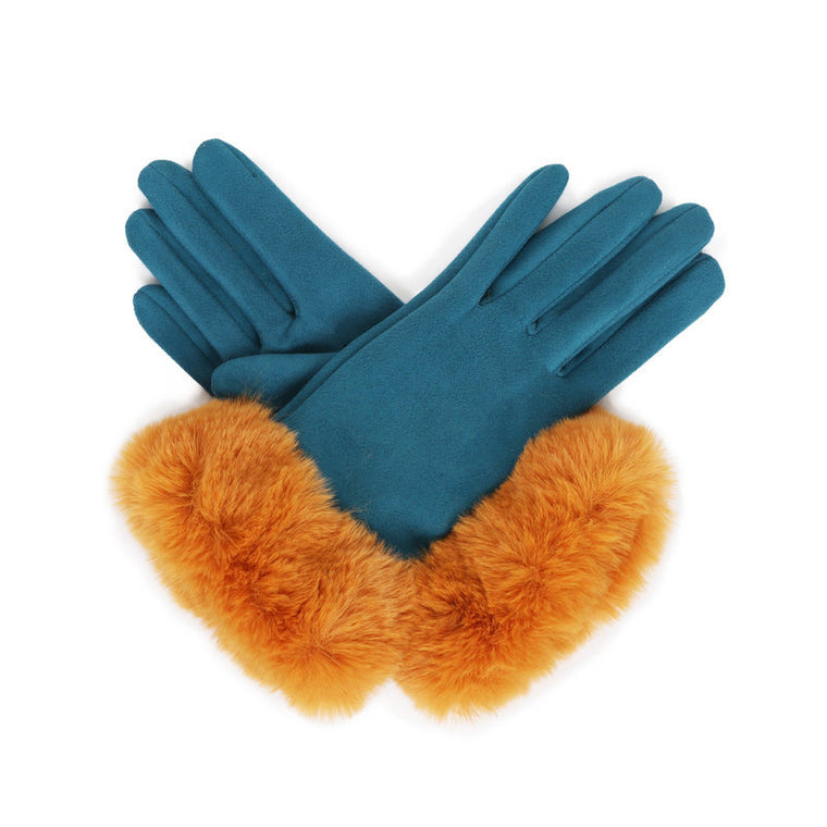 Bettina Faux Suede Gloves - Teal & Mustard