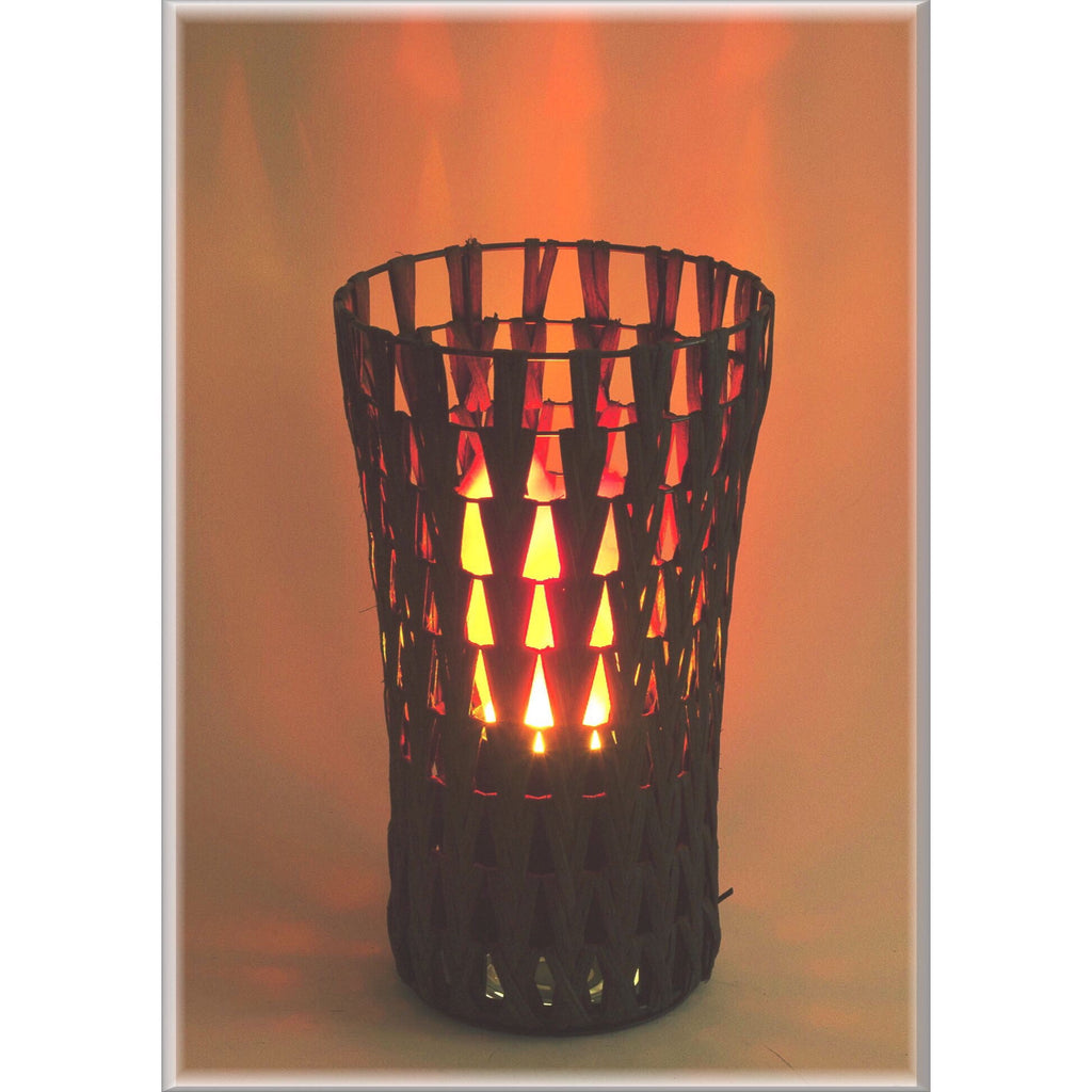 Luxa Rattan Chevron Tower Flame Light