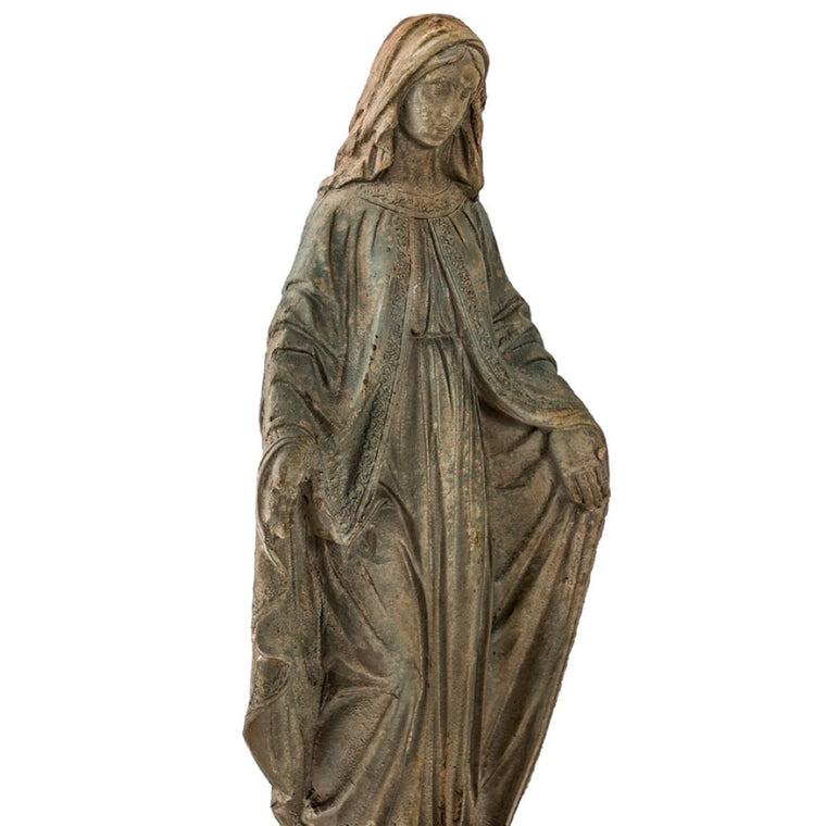 LARGE Antiqued  Stone Effect Madonna Figure Ornament
