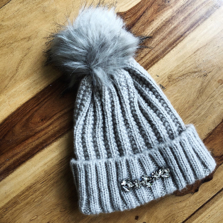 Embellished Maisie Bobble Hat - Beige