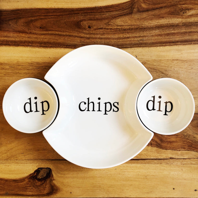 Ceramic & Bamboo Chips & Dip Serving Set