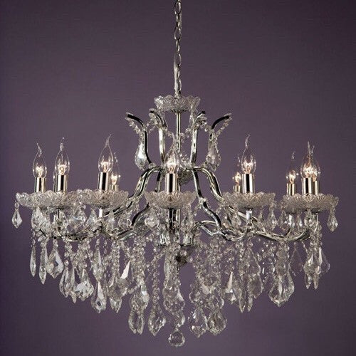 12 Arm Chrome Cut Glass Chandelier - 5 Colours