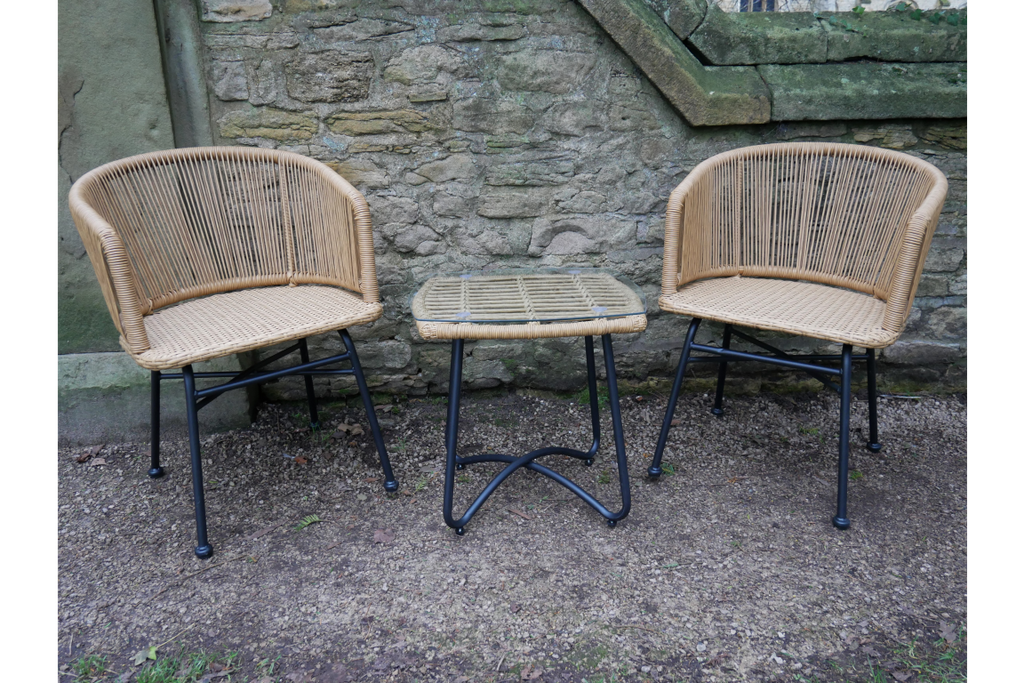 PE Rattan Table and Chairs Garden Set