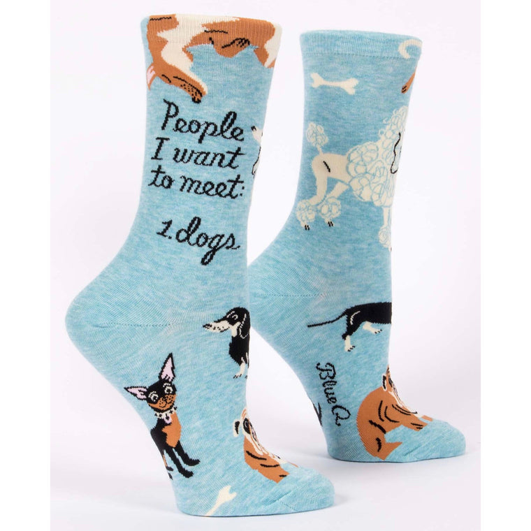 Blue Q Crew Socks - People I Want To Meet: Dogs