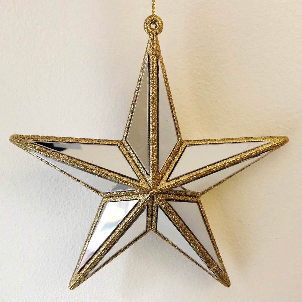Mirrored Star Bauble - Gold