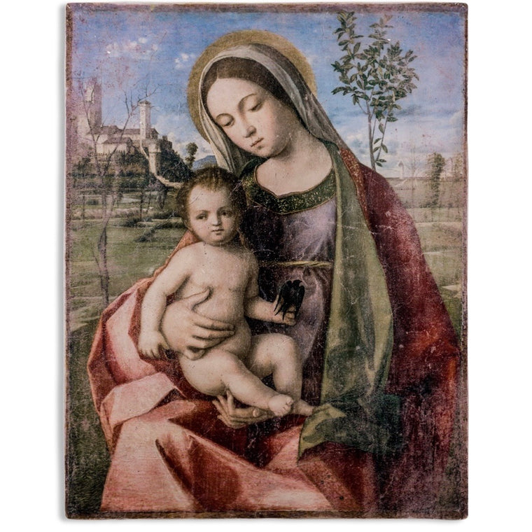 Large Fresco Madonna and Child Picture Plaque Art Print