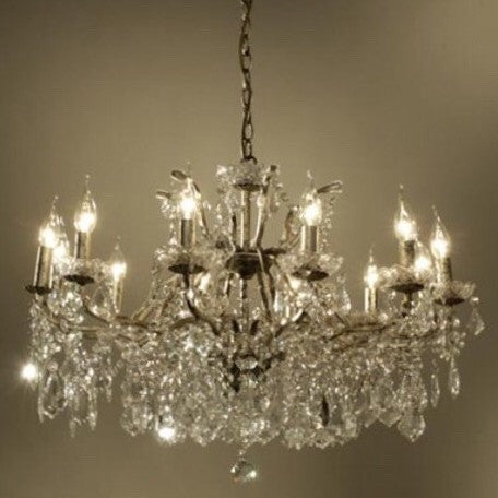 12 Arm Antique Silver Cut Glass Chandelier