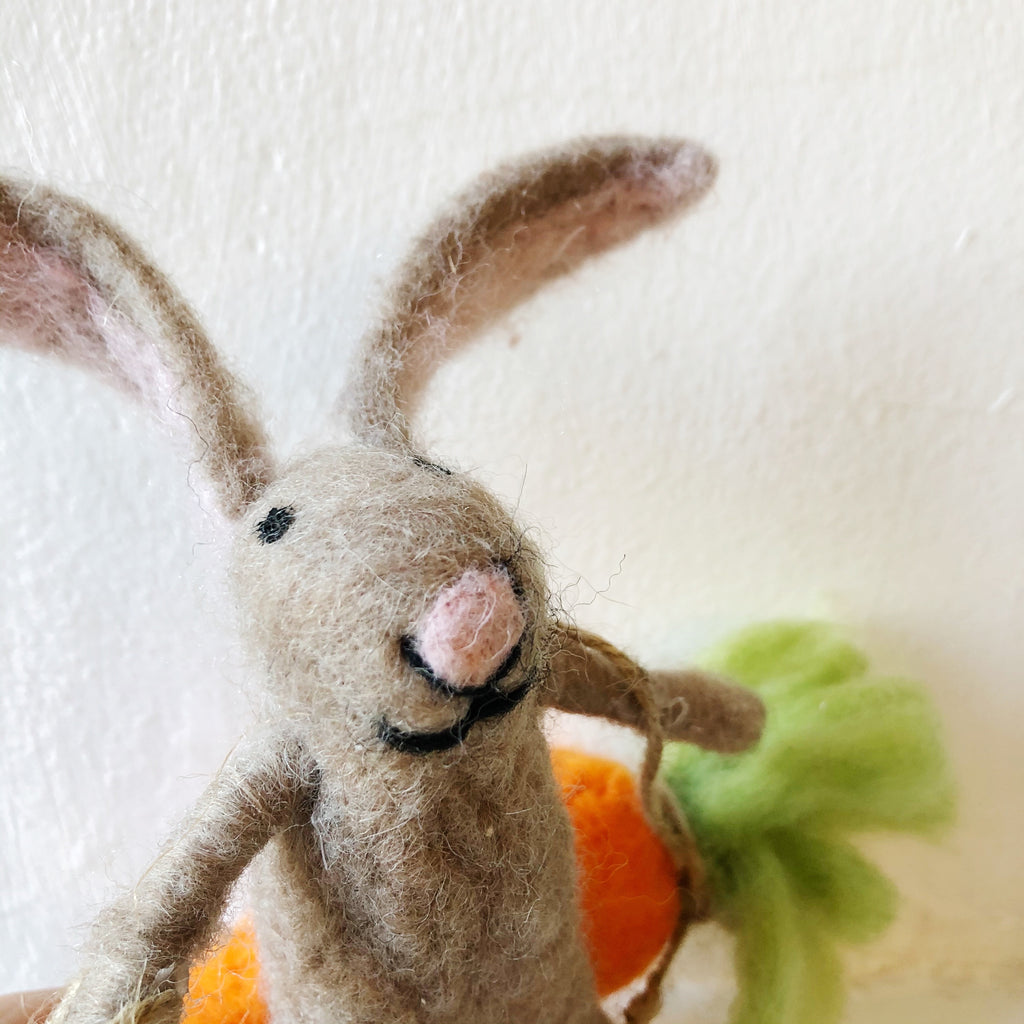 Wool Easter Bunny On Carrot Swing Hanging Decoration