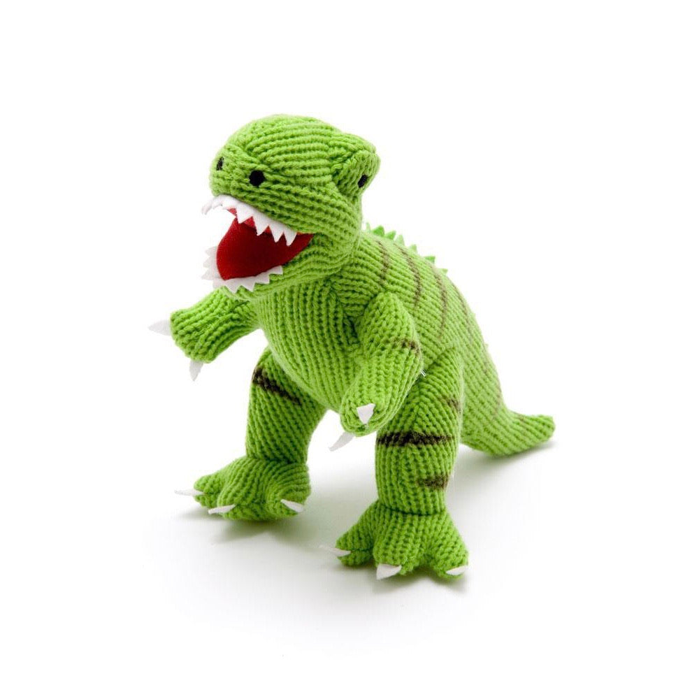 Terry Green T-Rex Knitted Dinosaur Rattle Soft Toy