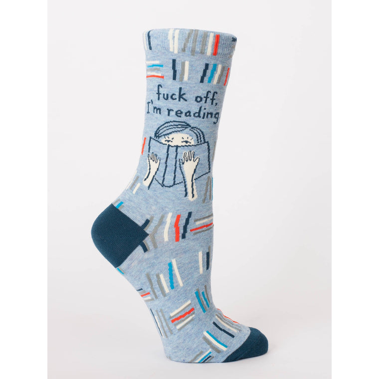 Blue Q Crew Socks - Fuck off, I'm Reading