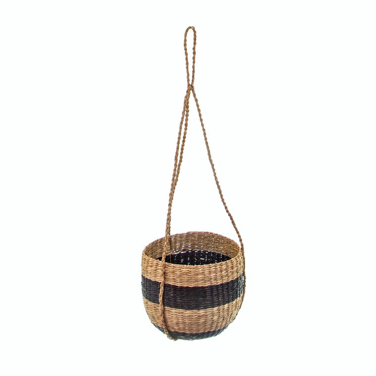 Black Stripe Seagrass Hanging Plant Pot