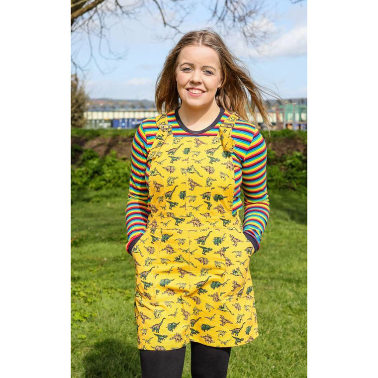 Mustard Dinosaur Print Corduroy Pinafore Dress