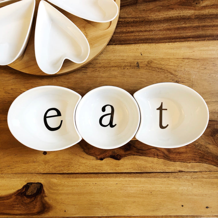 Ceramic & Bamboo Eat Serving Set