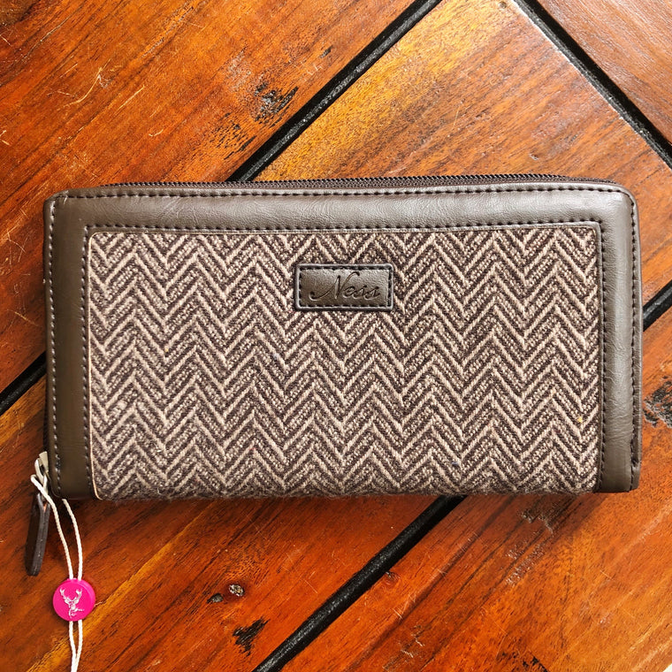 Ness Zippy Tweed Purse - Bitter Chocolate