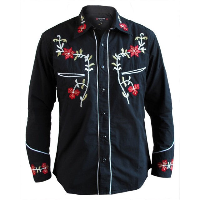 Mens Cowboy Shirt - Black with Red Floral Embroidery