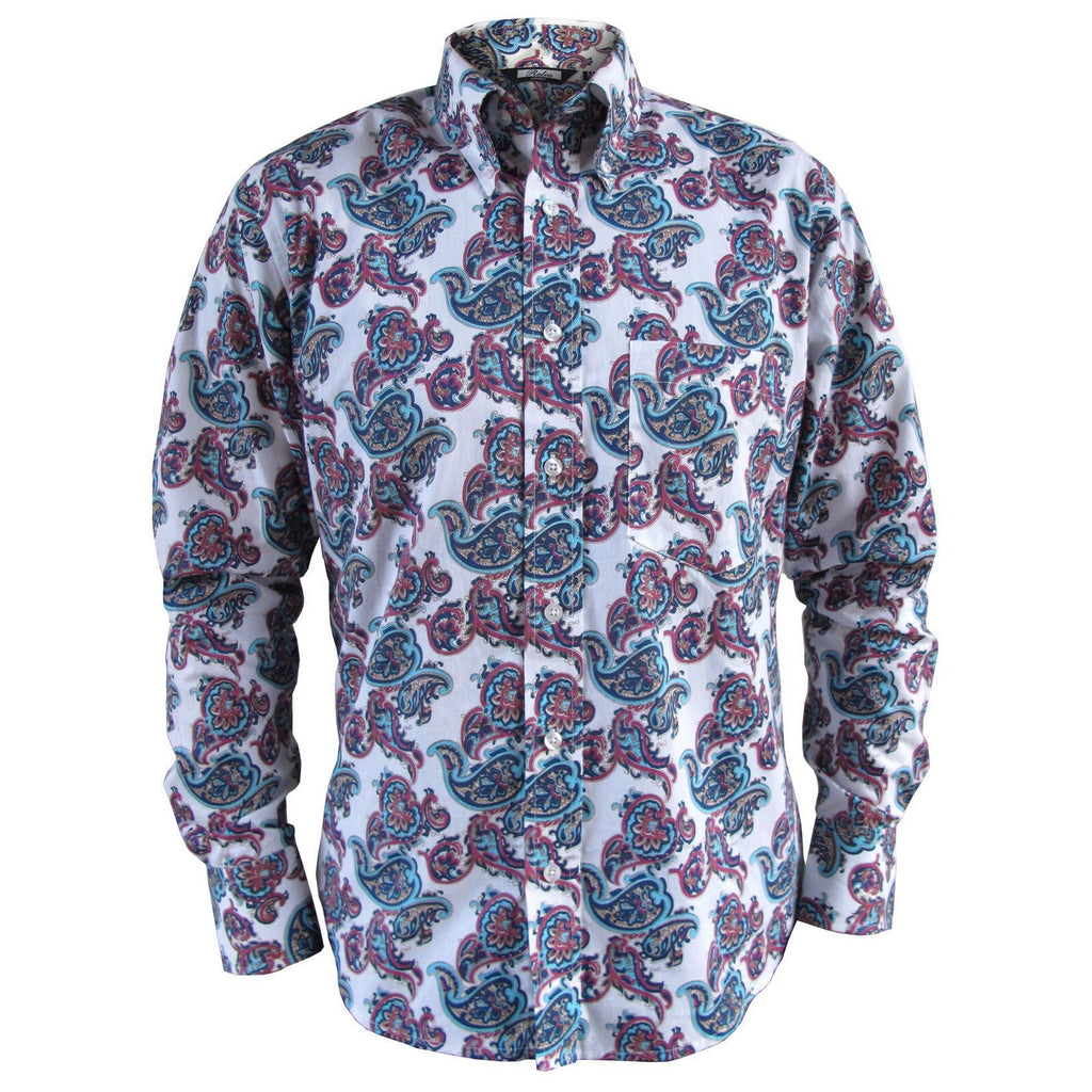 Men's Button Down Collar Shirt - Blue & Purple Paisley