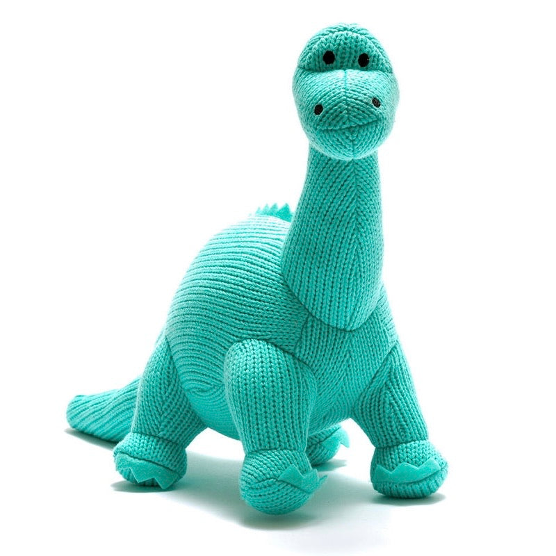 Ice Blue Diplodocus Knitted Dinosaur Soft Toy