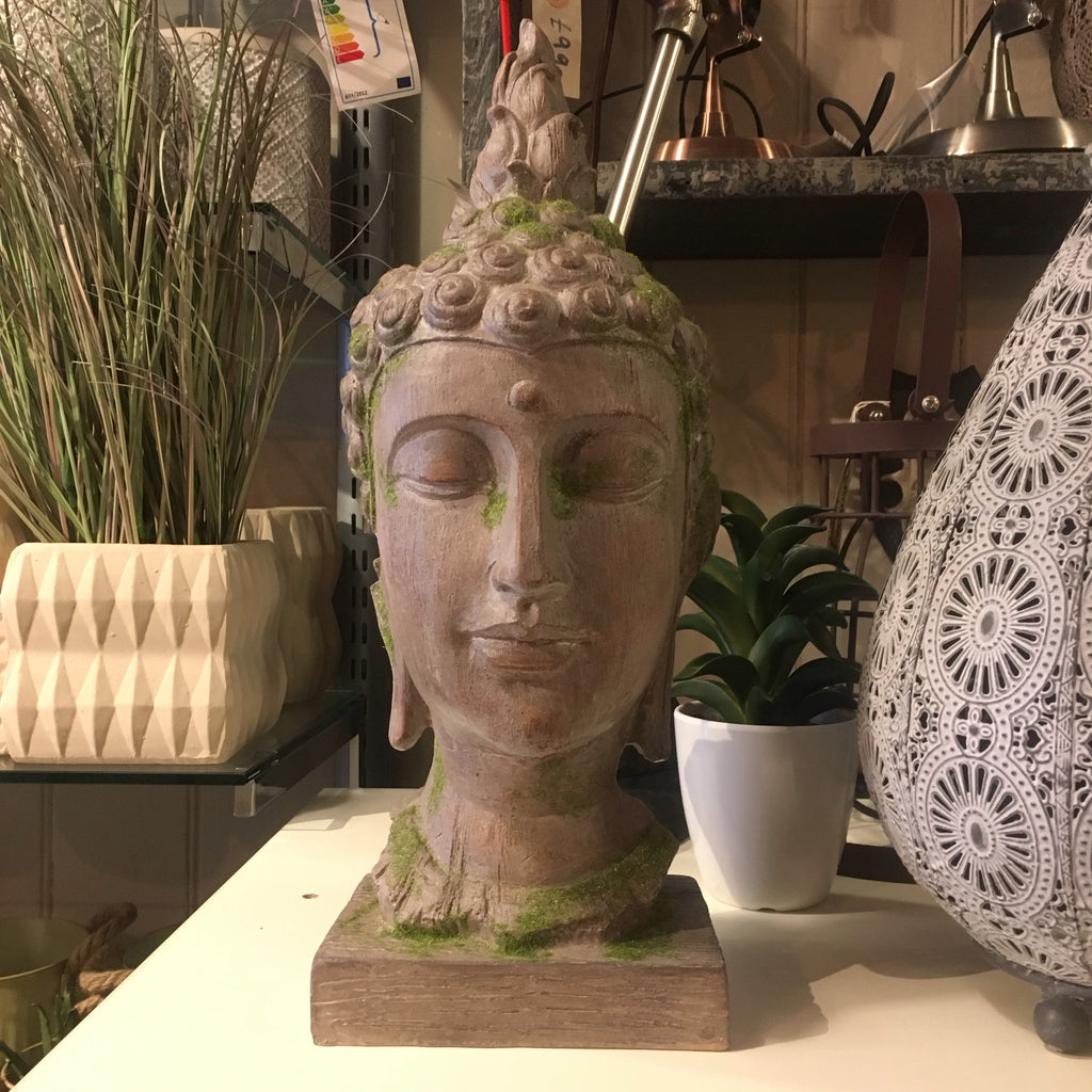 Moss Covered Buddha Head Ornament