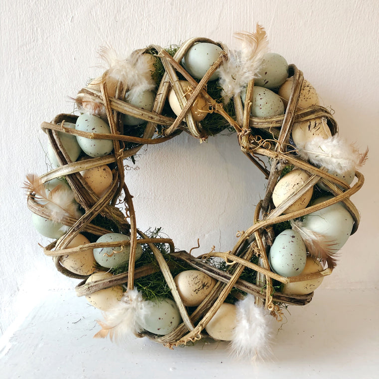 Wicker Egg & Moss Easter Wreath