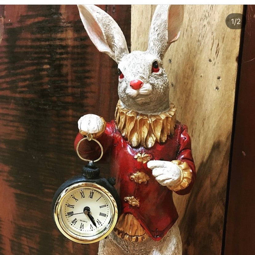 White Rabbit Resin Clock Ornament