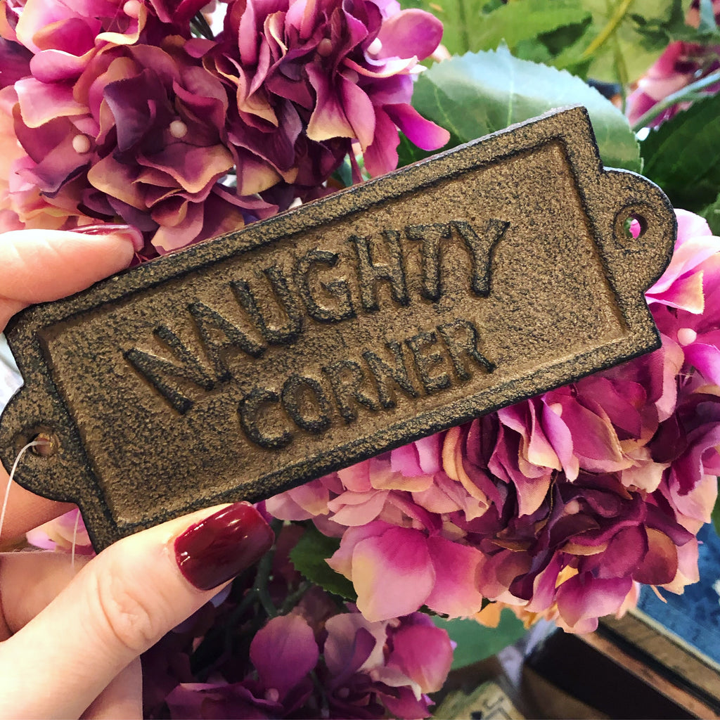 Cast Iron Naughty Corner Sign