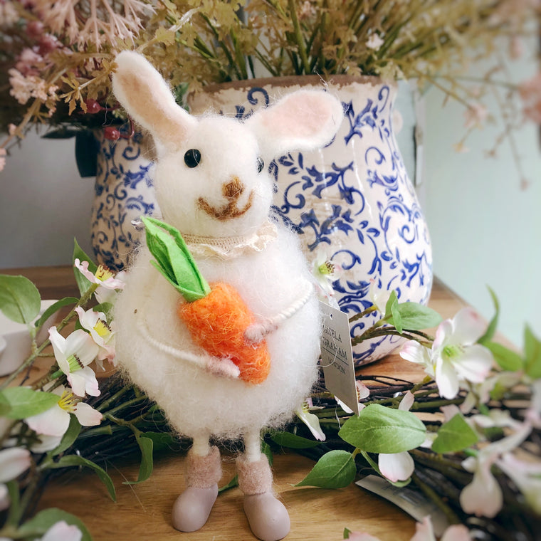 White Wool Easter Bunny With A Carrot Decoration