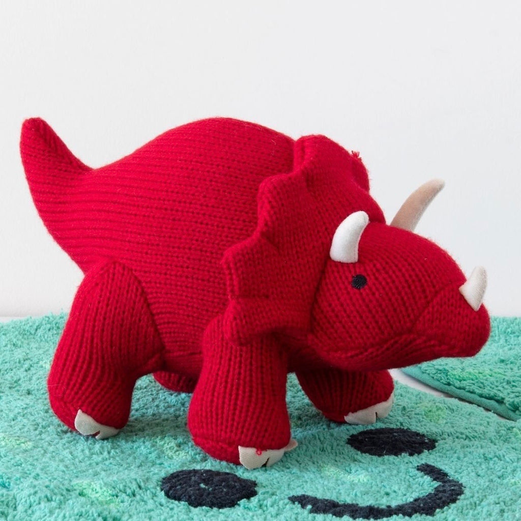 Red Triceratops Knitted Dinosaur Rattle Soft Toy