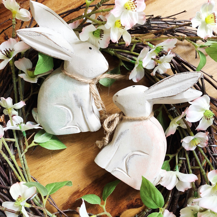 Wooden Easter Rabbit Decoration - 2 Colours
