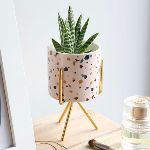 Terrazzo Print Mini Planter and Stand Plant Pot