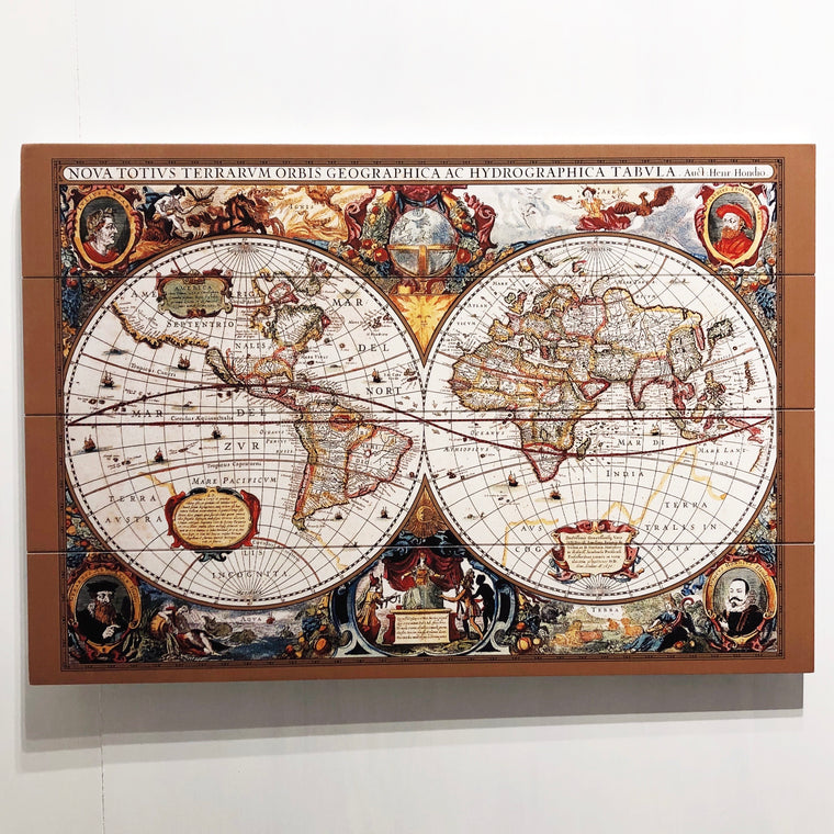 17th Century World Map Wood Print