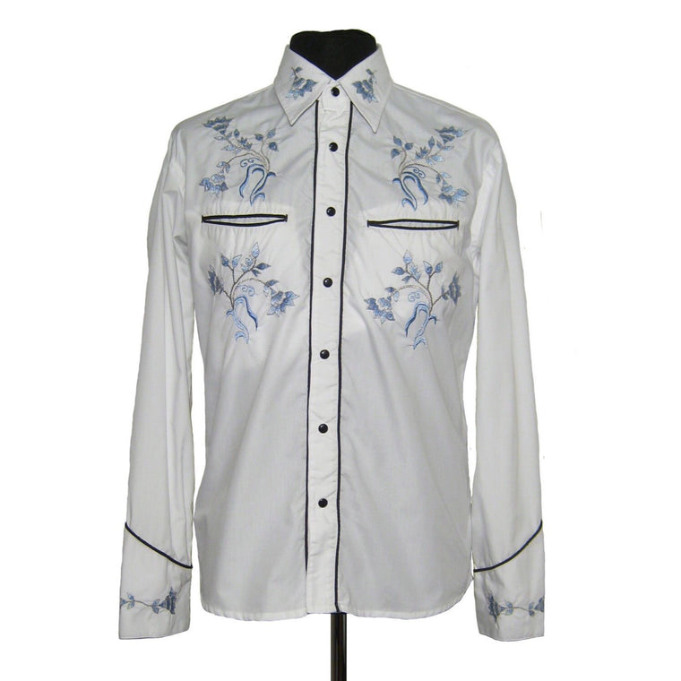 Mens Cowboy Shirt - White with Blue Floral Embroidery